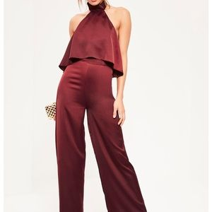 "Missguided ""Double layer satin high neck jumpsuit"""